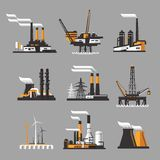 Industrial factory icons on gray background Royalty Free Stock Photography