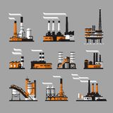 Industrial Factory Icons On Gray Background Royalty Free Stock Images