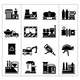 Industrial and factory icons set. Isolated on white royalty free illustration