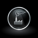 Industrial factory industry icon inside round silver and black e Stock Images