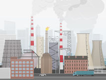 Industrial factory landscape. Plant or factory the city background in fog. Royalty Free Stock Photo