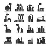 Industrial factory and plant buildings vector icons set Royalty Free Stock Image