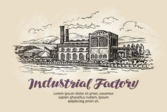 Industrial factory, plant sketch. Vintage building vector illustration Stock Photos