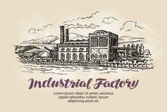 Industrial factory, plant sketch. Vintage building vector illustration Stock Photos