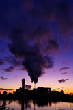 Industrial factory at sunrise Royalty Free Stock Photo