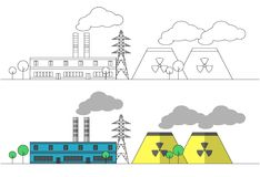 Industrial factory with two yellow nuclear stations and power line. Vector flat and linear illustration. Landscape. Colouring. Pai Stock Photo