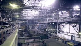 Industrial factory view. Crane hook Inside. stock video footage