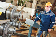 Industrial factory worker with tube bending machine Stock Photography