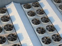 Industrial fans. On the top of rooof Stock Image