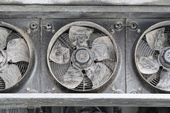 Industrial fans. Industrial cooling fans covered with dirt and dust Stock Image