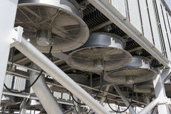 Industrial fans. Cooling an electrical power transformer royalty free stock photography