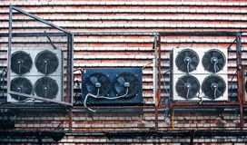 Industrial fans on the wall. Electric industrial fan on the wall Stock Photo