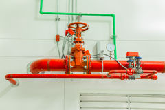 Industrial fire protection system with pressure gauge for measur Stock Photo