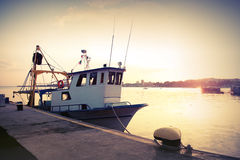 Industrial fishing boat. Vintage toned photo Royalty Free Stock Image