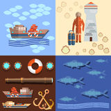 Industrial fishing in the oceans. And seas, diver and a lighthouse, salmon, ships, anchors, underwater study of the ocean, flat vector Illustration Royalty Free Stock Images