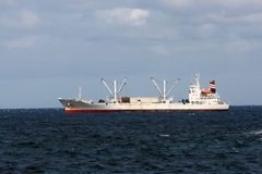 Industrial fishing vessel. In the rough mediterranean sea Royalty Free Stock Photo