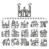 Industrial flat line icons set Stock Images