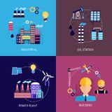 Industrial flat set. Industrial flat icons set with oils station power plant builders isolated vector illustration Stock Photos