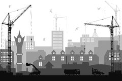 Industrial flat style city under construction background Stock Photos