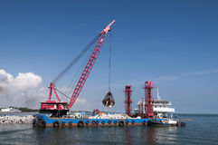 Industrial floating sea crane Royalty Free Stock Image