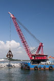 Industrial floating sea crane Royalty Free Stock Photo