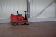 Industrial floor scrubbers. Red color Royalty Free Stock Photos