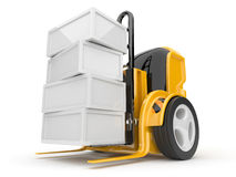 Industrial forklift with a load of.  3d. Industrial forklift with a load of. The futuristic robot. 3d Stock Photography