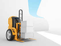 Industrial forklift with  load.  robot 3d Stock Photo