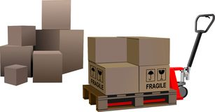 Industrial forklift with a load of th. E boxes stock illustration