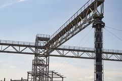 Industrial frame construction in the open air royalty free stock photography