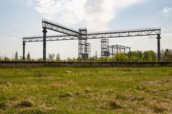 Industrial frame construction in the open air stock photo