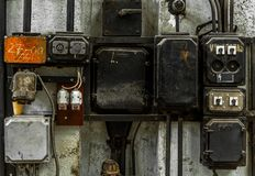 Industrial fuse box on the wall Stock Photography