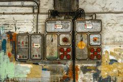 Industrial fuse box on the wall. Closeup photo royalty free stock photo