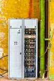 Industrial fuse box on the wall Stock Photo