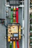 Industrial fuse box on the wall Stock Photos
