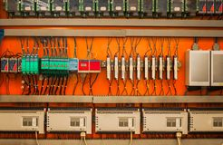 Industrial fuse box on the wall. Closeup photo stock photos