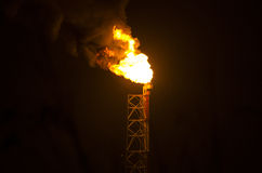 Industrial Gas Flare Royalty Free Stock Photos