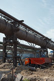 Industrial gas and heat pipelines royalty free stock photography