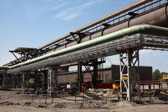 Industrial gas and heat pipelines stock photos