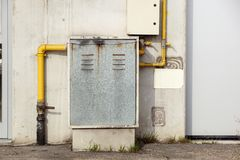 Industrial gas meter yellow box and pipes.  stock photo