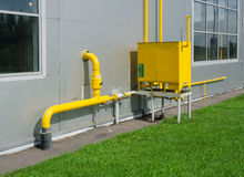 Industrial gas meter yellow box Royalty Free Stock Photography