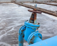 Industrial gate valve with blue pipeline for oxygen blowing Royalty Free Stock Images