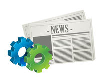 Industrial gear newspaper concept illustration Stock Photo