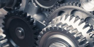 Industrial gear wheels. Close-up view Stock Photography