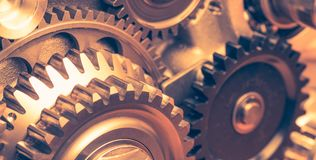 Industrial gear wheels. Close-up view Royalty Free Stock Images