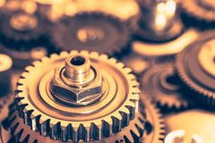 Industrial gear wheels. Close-up view Stock Photos