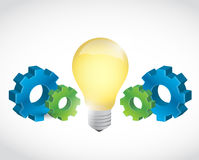 Industrial gears and light bulb illustration Stock Photos