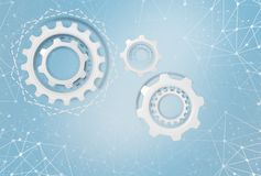 Industrial gears over futuristic background. Royalty Free Stock Image