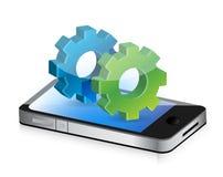 Industrial gears smartphone Stock Images