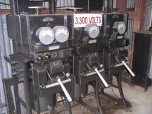 Industrial generator. Danger - high voltage stock image